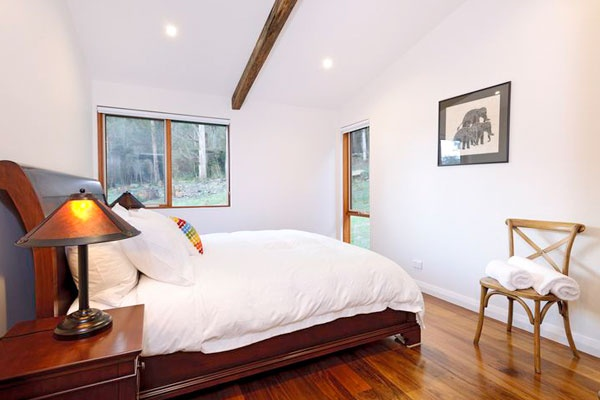 Beautiful bedrooms fitted with luxurious goose and down feather mattress toppers.   Adventure Bay, Bruny Island.
