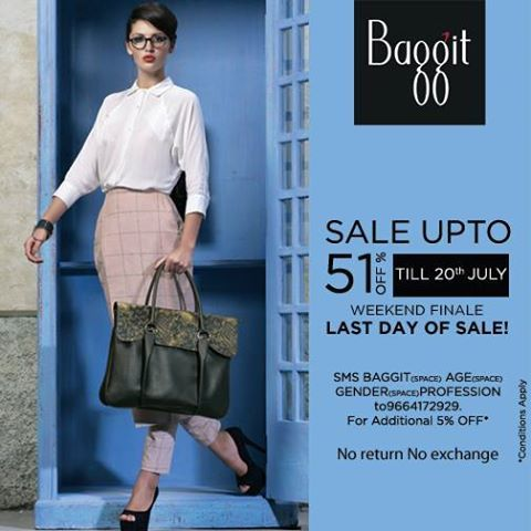 "Hurry to get a load of gorgeous bags that you will love and deals you would not want to miss. Also, get additional 5% discount by sending us an SMS ""Baggit Age Gender Profession"" to 9664172929. Enjoy the pleasures of shopping only on 20th July 14'at Our Exclusive Stores & www.baggit.com"