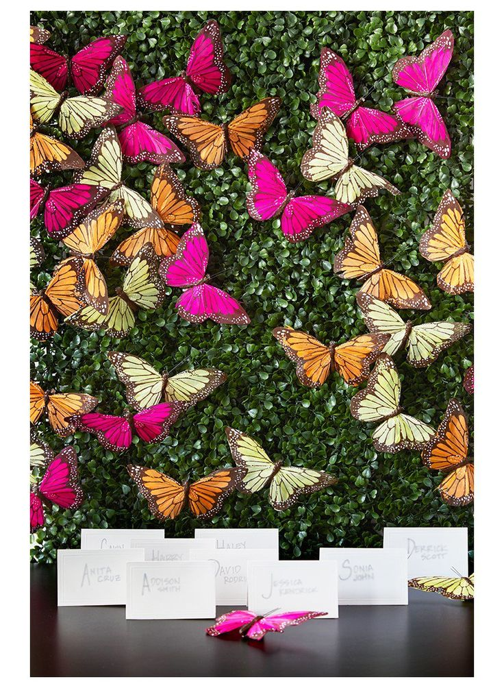 Pink yellow orange monarch butterflies clip classic romantic wedding decor fake animals Christmas tree ornaments retail store window display props