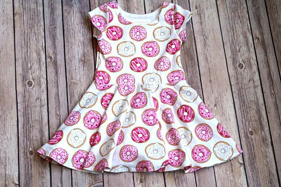 Donut Dress. Food Dress. Baby Dress. Toddler Dress. Little  (Pink Donuts fabric design by Hazel Fisher Creations)