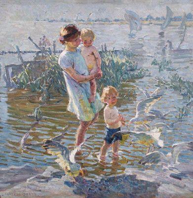 Dorothea Sharp (1874-1955), Εκεί που παίζουν τα παιδιά και πετούν οι γλάροι. Museum and Art Gallery Lemington Spa.