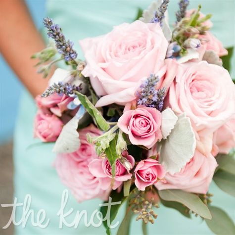 Soft pink bouquet with lavender. Beautiful!Pink Flower, Mint Green, Bright Pink, Pink Bouquets, Wedding Bouquets, Colors, Mint Dresses, Pink Rose, Bridesmaid Bouquets