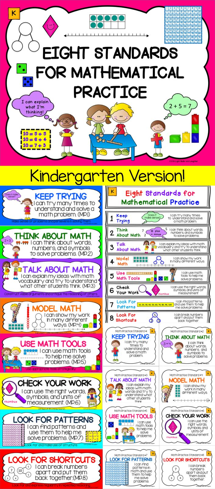 Common Core 8 Math Practice Standards adapted for Kindergarten.  Everything you need!  TpT$
