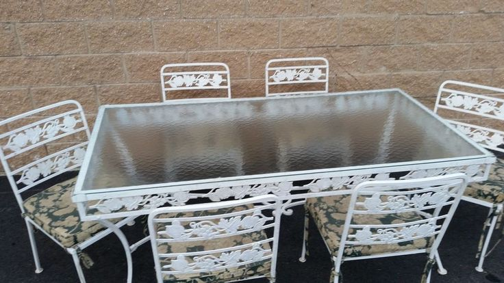 Vintage Wrought Iron patio furniture 7 pieces GLASS TABLE TOP 6 CHAIRS MCM.Ebay, NY, $199.00