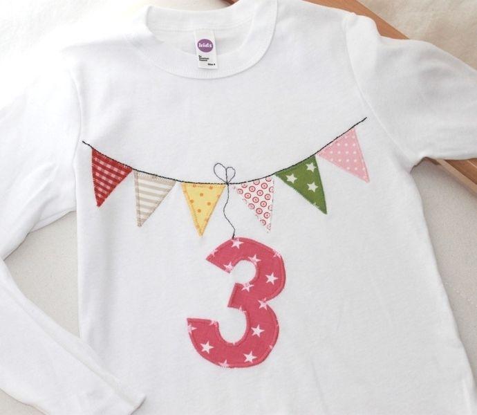 """Langarmshirts - Geburtstagsshirt """"Wimpel"""" Zahl 1,2,3,4, - ein Designerstück von Wichtelland bei DaWanda"""
