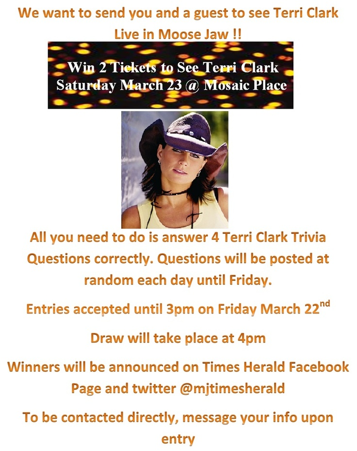 How much do you really know? Follow our Terri Trivia week to answer our questions for your chance to win tickets to her show this Saturday March.23rd at Mosaic Place.