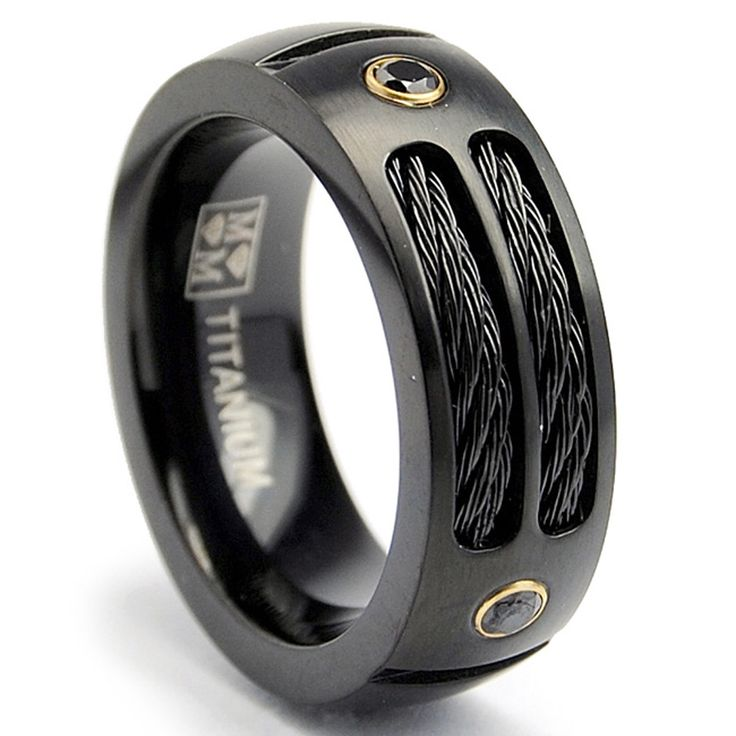 Spectacular Oliveti Black Plated Titanium Men us Steel Cable and Black CZ Band mm Twisted Wedding BandsMens