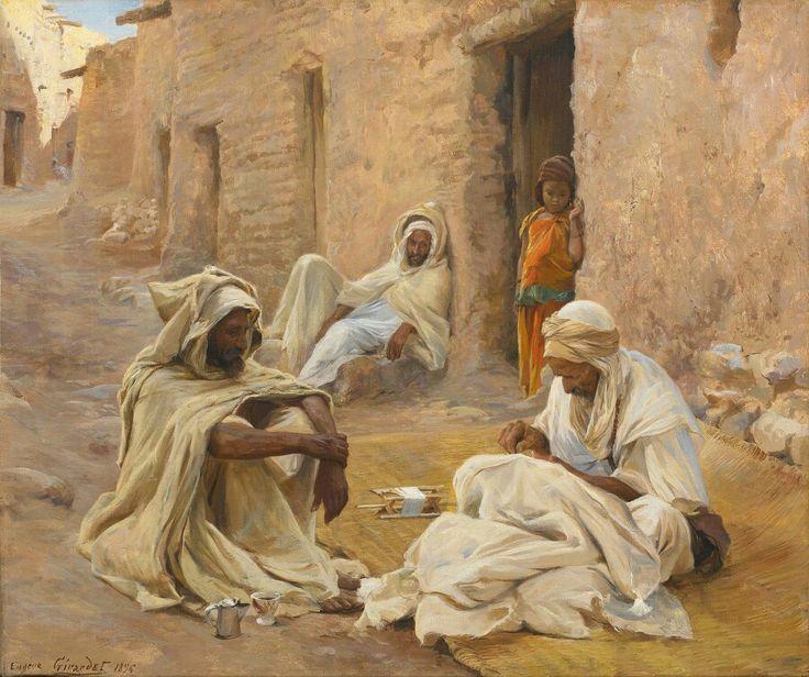 Algérie - Peintre  Français   EugèneGirardet (1853-1907), huile sur toile , Titre : Le tailleur