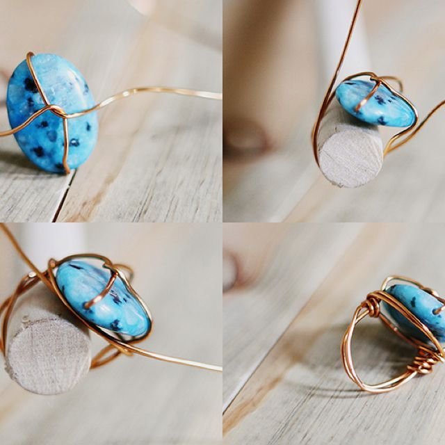 **1***/////vis........//Wrapped Stone Ring DIY, jewelry making http://tech.beads.us/details-Wrapped-Stone-Ring-3076.html