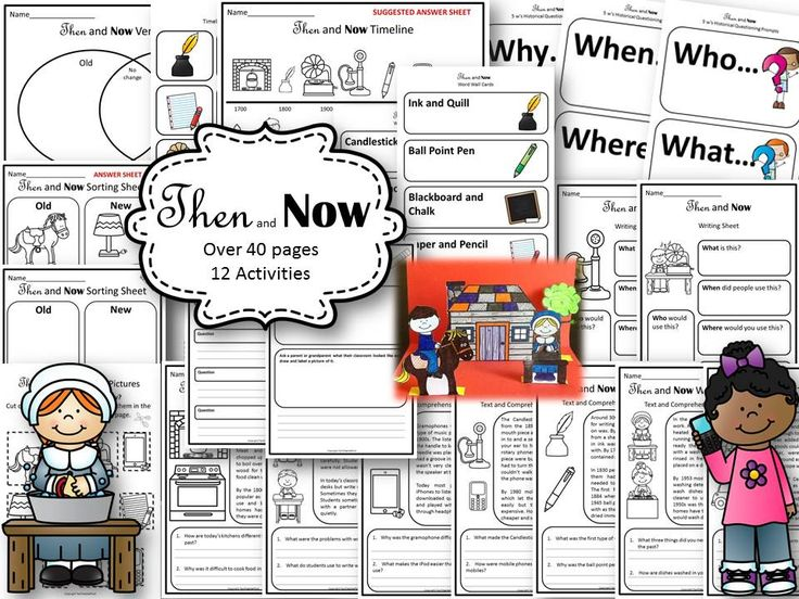 Then and Now 40 pages with 12 activities, diorama, flip book, timeline, cut and past and assessable printables suitable for Year 1 and 2 History study of life in the past.