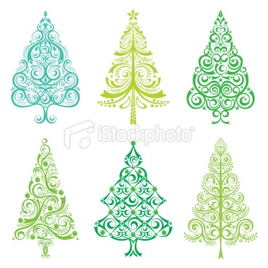 Christmas Tree Set Royalty Free Stock Vector Art Illustration