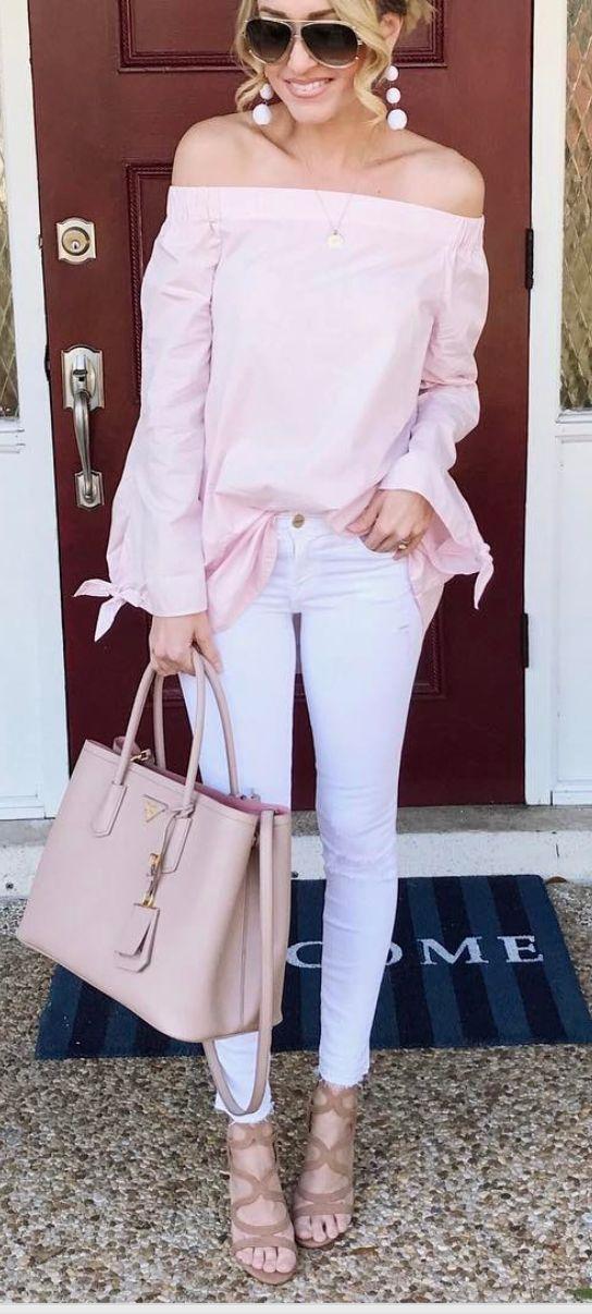 Pink off the shoulder top-