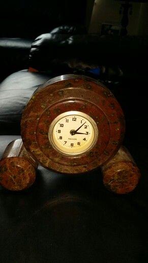 Vintage Serpentine marble clock