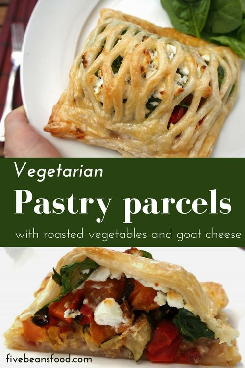 So yummy! These vegetarian pastry parcels with roast vegetables and goat cheese make an ideal feature dish when entertaining a vegetarian guest or just eat them yourself