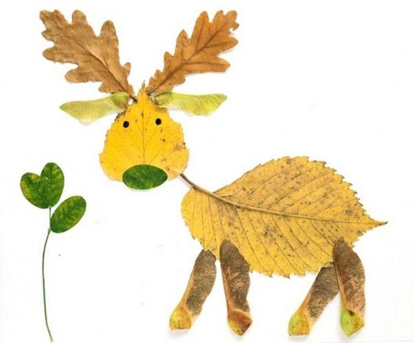 Herbstblätter Collage Kinder Hirsch