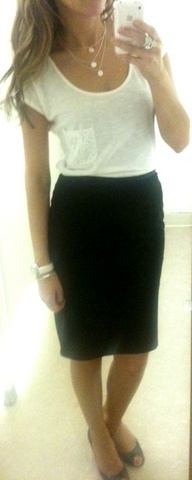 white t-shirt, black pencil skirt, necklace and watch