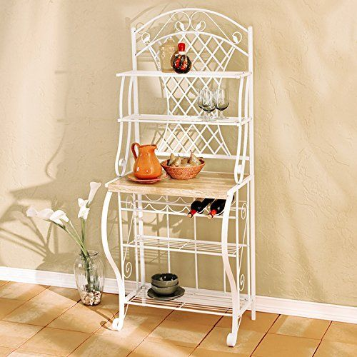Kitchen bakers rack Beautifully crafted multi-functional storage rack Additional wine storage on this kitchen bakers rack