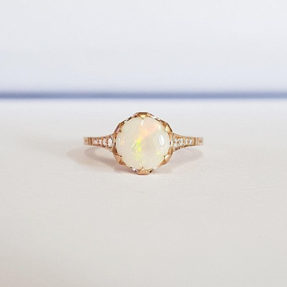 1edfe28c82a47 Opal and diamond art deco 1920's three stone trilogy engagement ...