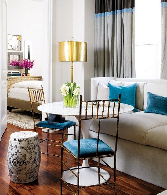 Glam #blue #velvet #dining #living #room #bedroom #gold #couch #sofa #color #block #curtains