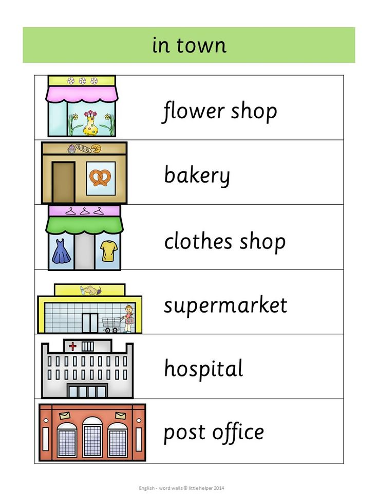 Places in town - This set has 53 English word walls for your ESL lessons. They are a great visual help for introducing English vocabulary and cover all major topics from adjectives to weather.