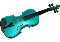 A photo of a turquoise violin