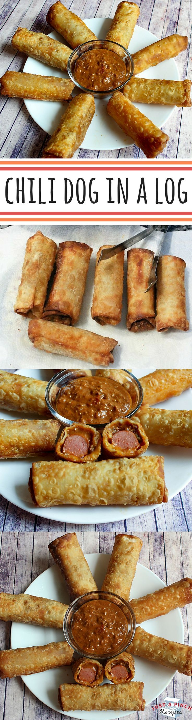 Imagine biting into a melted chili cheese dog fried in a crunchy egg roll wrapper and you have this tasty snack. Fry these up for the big game, sit down and watch them disappear. We suggest serving with extra chili and a bit of mustard for dipping. These are awesome!