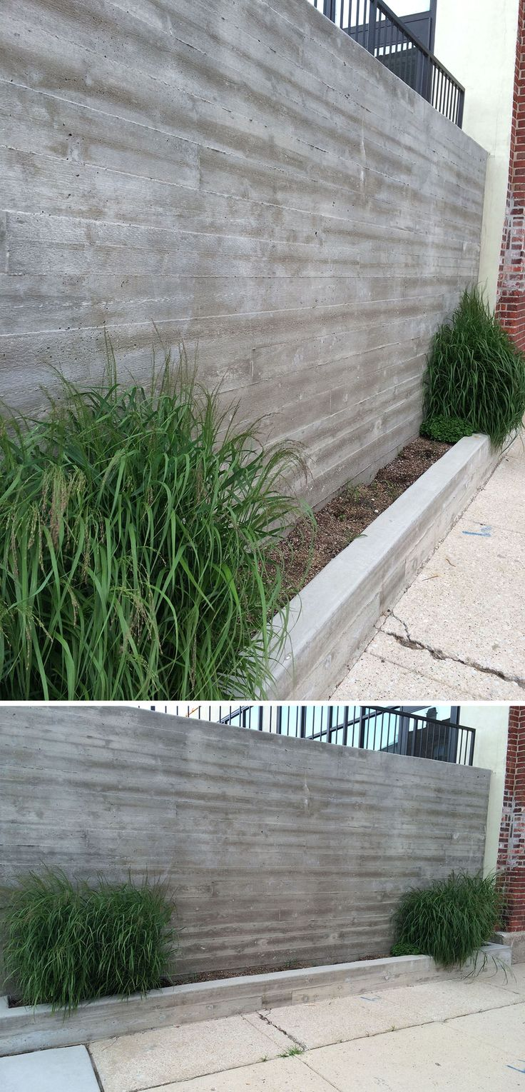 Like this raw concrete wall with wood frame texture. Wolcott School, Chicago, IL (Photo: Amy DeVoogd)