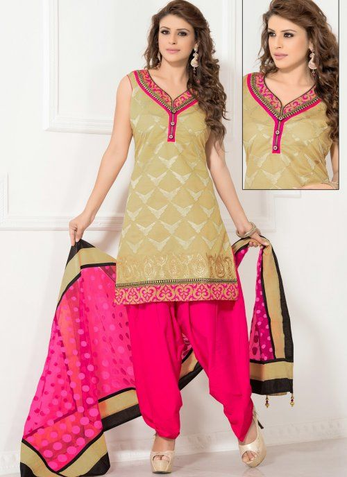 Adorable Beige Salwar Kameez #punjabi #suit #salwarkameez #indian  #party #wear #designer #suit #elegant #patiala #salwar #beige #pink #wedding #asian #clothing #indiantrendz