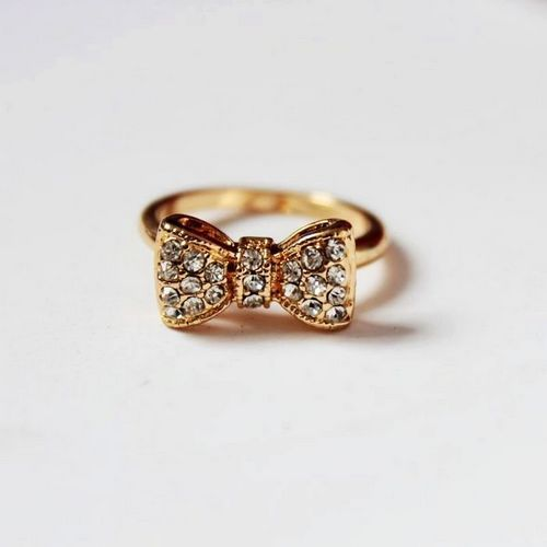 bow ring,golden diamond bow ring,cheap fashion ring shop at : http://Costwe.com/fashion-cheap-rings-c-47_43.html