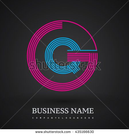Letter GQ or QG linked logo design circle G shape. Elegant red and blue colored letter symbol. Vector logo design template elements for company identity.