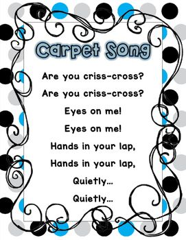 "I teach Kindergarten and we sing songs all day! I sing this song as well transition to ""carpet"" or ""circle"" time. My kiddos need a poster to reference it and I use this to teach the song. There are 2 different versions (in the preview) one with no pictures and larger font and one with pictures.Please leave feedback if you are downloading!If you have any suggestions, or would like to edit it please feel free to ask or e-mail me at chacker@sixmilecharter.orgThank you for your support!"