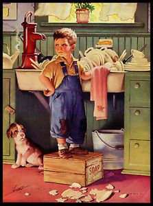"Vintage 1950's ""Help Wanted"" Lithographic Calendar Art by Raymond James Stuart | eBay"