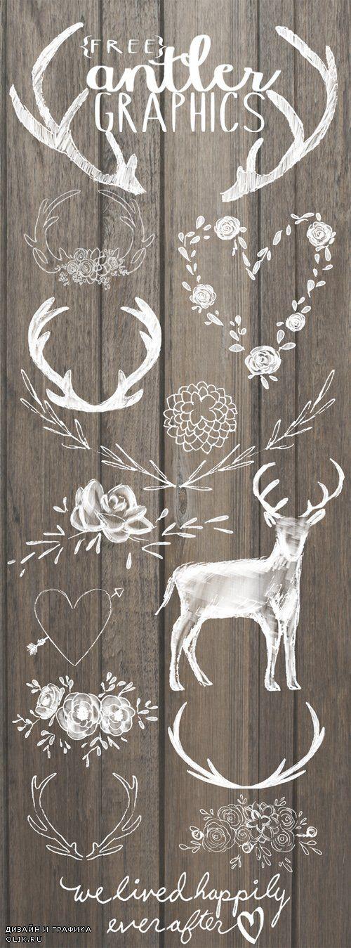 Цветы, сердечки, оленьи рога - Клипарт PNG на прозрачном фоне