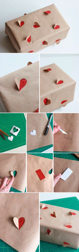 Simple Valentine's Day gift wrapping idea