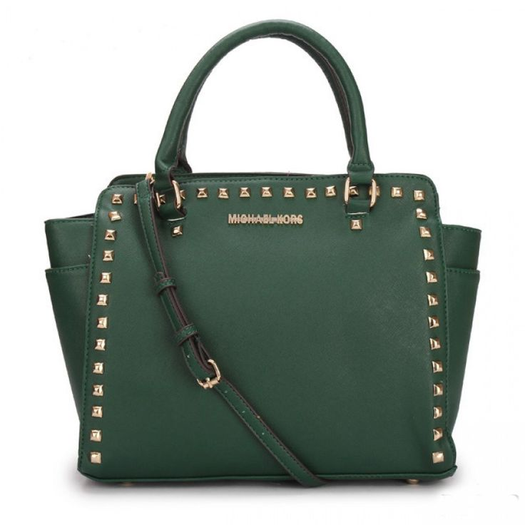 MICHAEL Michael Kors Large Selma Studded Saffiano Tote in Green