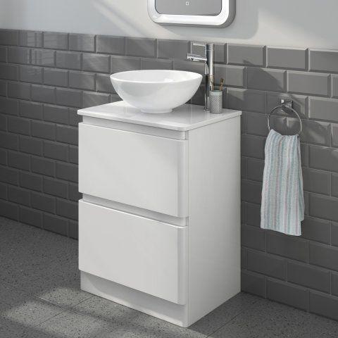 600mm Denver II GlossWhiteCountertop Unit & Basin Floor Standing [PT-MV2607T] - £279.99 : Platinum Taps & Bathrooms