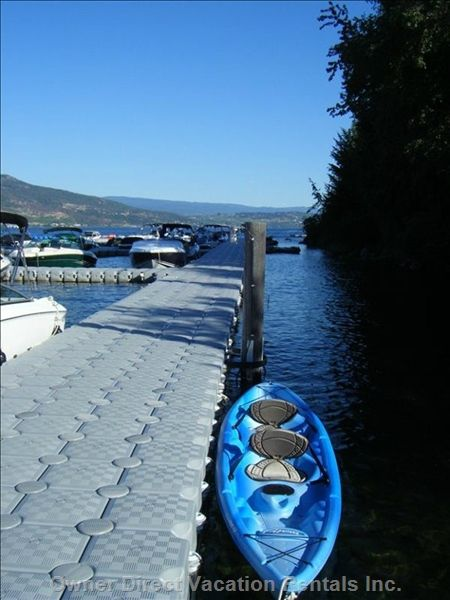 Water sport rentals at the Beach like paddle boards and kayaks, boat rentals are 10 minutes away. We are located between West Kelowna and Vernon on Lake Okanagan. The swimming pool, 2 hot tubs, tennis courts, mini golf, barbecue picnic area, sand volleyball and children's play structure are steps away.