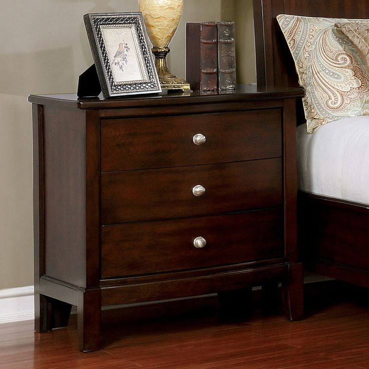 Furniture of America Kami Transitional Brown Cherry 3-drawer Nightstand (Brown Cherry)