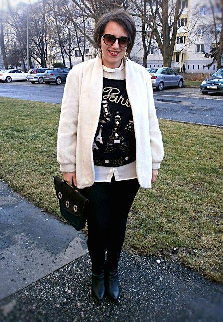 VGRV blog, white faux fur, vintage Paris sweater with golden embroidery, black pants, vintage 80s bag, black ankle boots, white blouse, layering