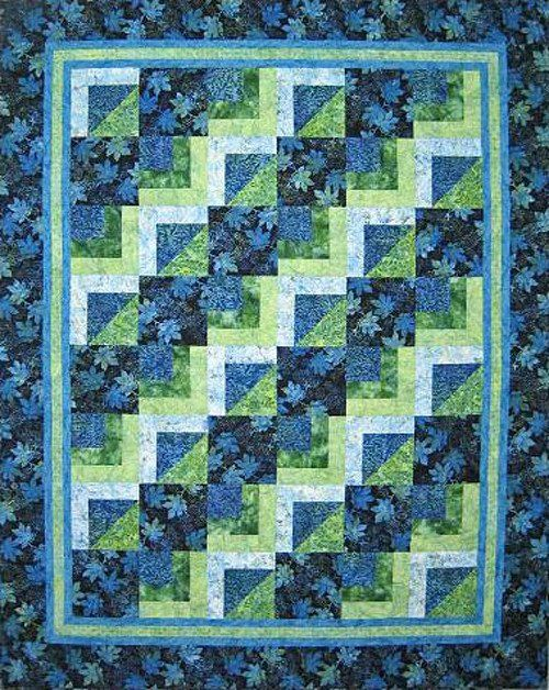 """This pattern is for a quick and easy quilt in two sizes. The lap size (62 1/2"""" x 78 1/2"""") has 8"""" squares. The queen size (92"""" x 102"""") has 10"""" squares. Beginner Friendly."""