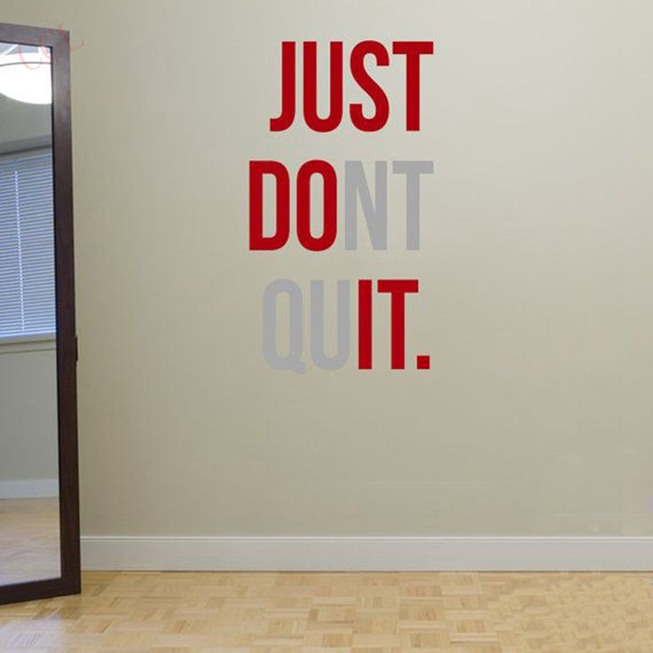 """JUST DONT QUIT"" Gym Workout Motivation Quote Words Vinyl Wall Art Sticker Wallpaper Mural Home Decoration JUST DO IT-in Wall Stickers from Home, Kitchen"