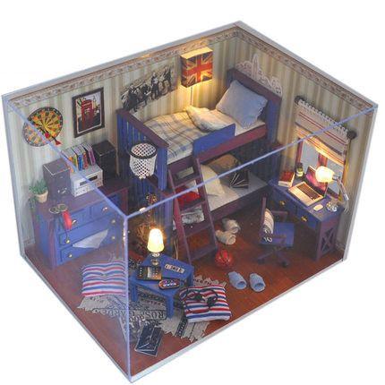 Envío Gratis! Niño Nuevo DIY kit modelo en miniatura de madera casa de muñeca...