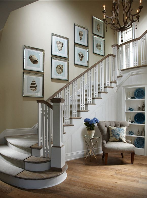 Coastal Home Like the use of space under the stairs but would use 6 prints, not 8