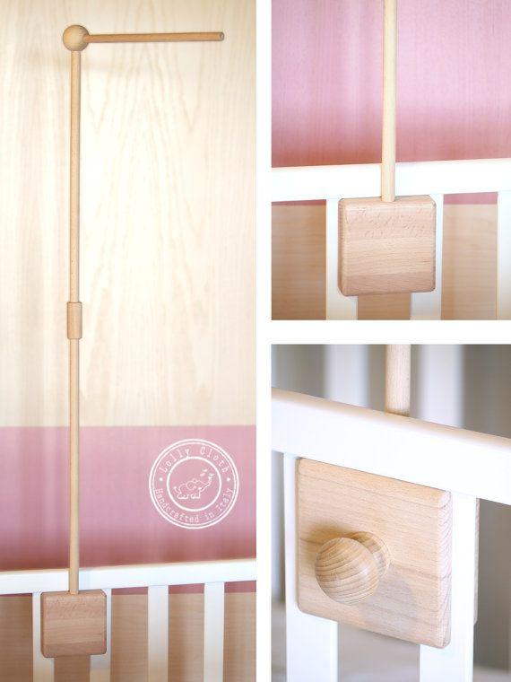 Baby Mobile Arm, Wooden Crib Arm, Crib Holder, Baby Mobile Hanger, Crib Mobile Hanger  by #LollyCloth