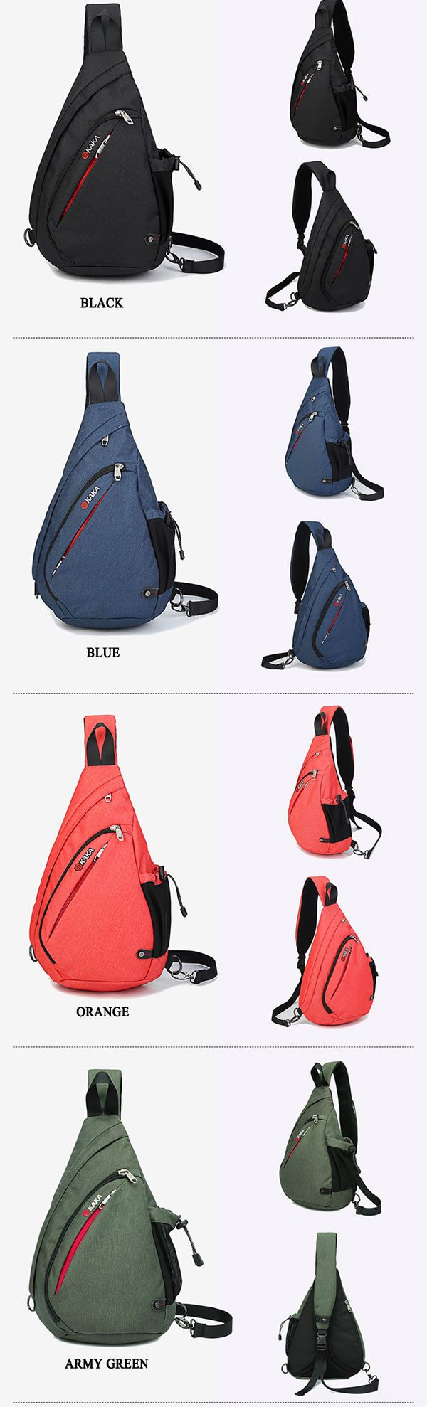 KAKA® Men Oxford Fashion Sling Bag Large Capacity Outdoor Sport Chest Bag