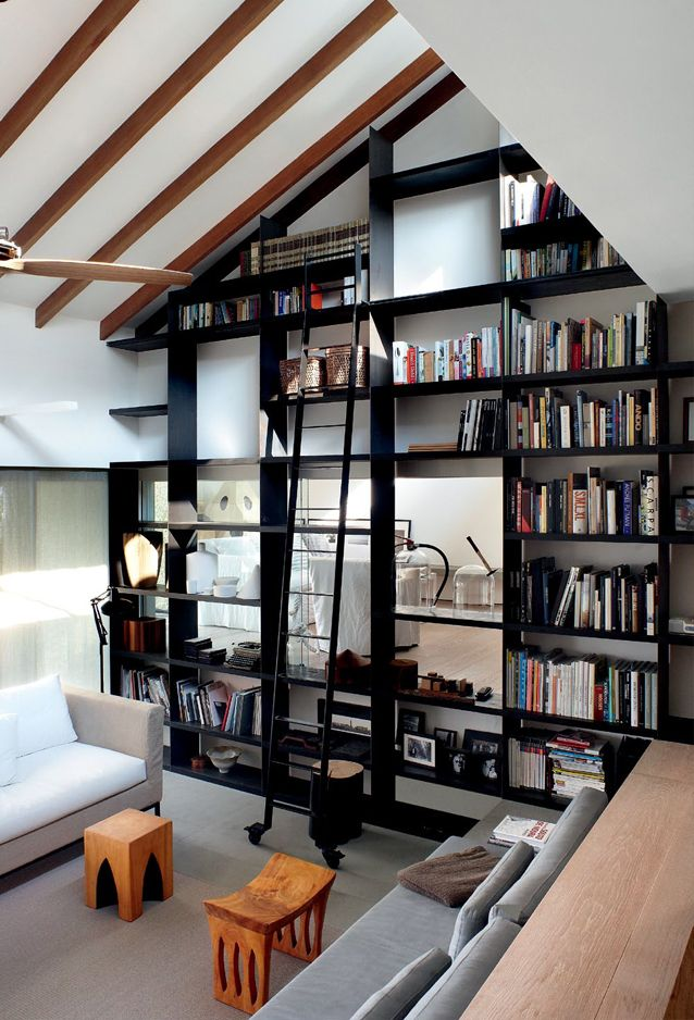 library ladder with open shelving