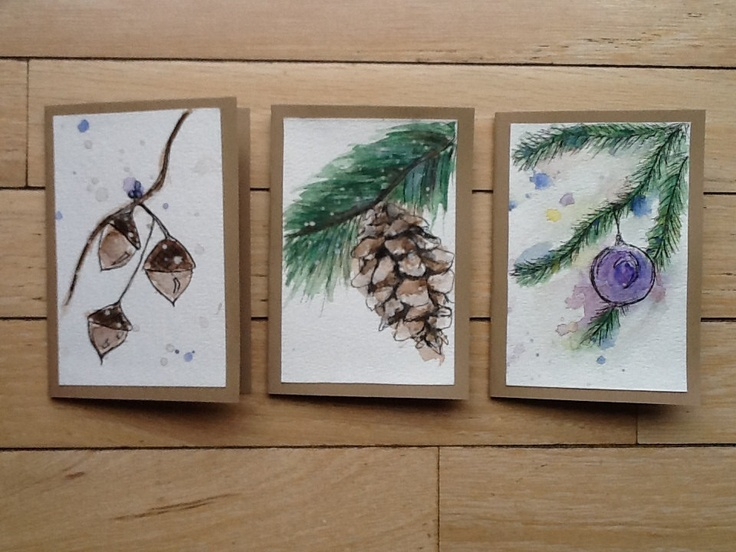 hand painted winter cards!