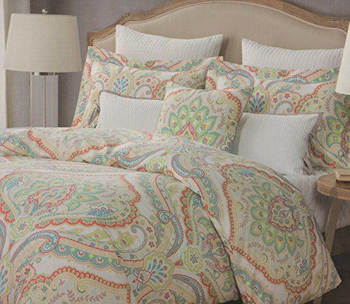 Nicole Miller King Duvet Cover Set Paisley Large Moroccan Medallion Blue Orange Yellow Green Red Beige