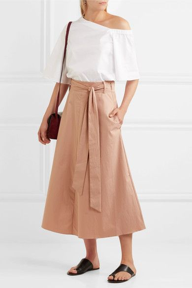 Tibi - Cotton-poplin Wrap Skirt - Beige