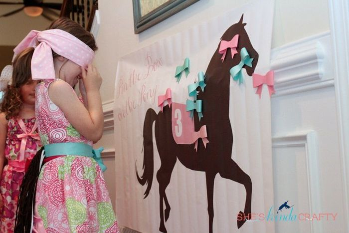 Horse birthday party game -- pin hair bows on the pony/horse. Everybody wins because they get to keep their hair bow after the game. (Yes, we have horse print ribbon hair bows and headbands at GirlsHorseClothes.com :)